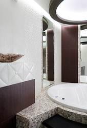 дизайн интерьера ванной, ванная ар деко, мозаика, бежево коричневая гамма, шоколадная ванна