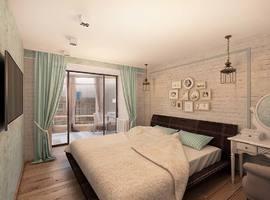 дизайн интерьера спальной, лофт в интерьере, мятный цвет интерьер, классический лофт, бирюзовый в интерьере