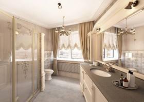 дизайн интерьера ванной, ванная классика, бежевый цвет в интерьере, классическая душевая