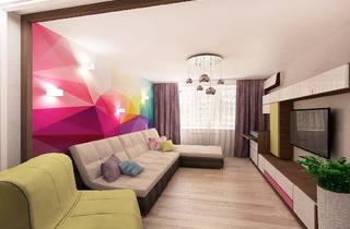 современный дизайн интерьера, яркие пятна интерьера, яркий цвет в интерьере