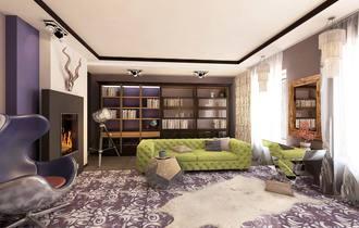 яркие цвета интерьера, современная классика, брутальный дизайн