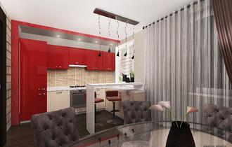 дизайн интерьера кухни, сочетание классики и современного стиля, красная кухня