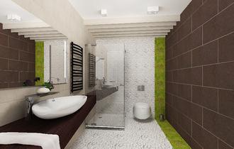 ванная эко дизайн, зелень в интерьере