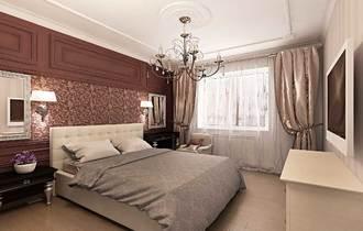 дизайн интерьера спальной, спальная в английском стиле, бордовый в интерьере, классическая спальная