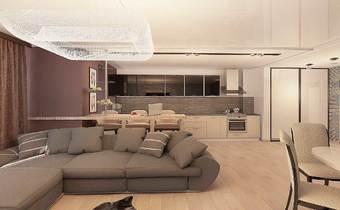 дизайн квартиры студии, стиль контемпорари