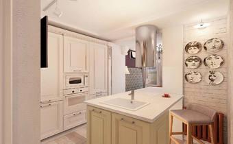 дизайн интерьера кухни, белая классика, лимонный цвет в интерьере, классическая кухня лофт
