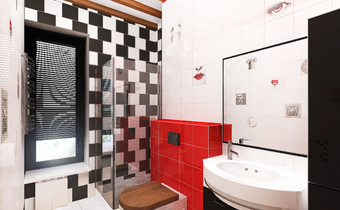 дизайн красной ванной, черно белая ванная