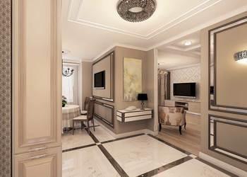 дизайн стильного холла коридора, классический интерьер, бежево-коричневая гамма, шикарный интерьер, зеркальный интерьер,