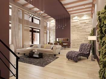 дизайн гостиной, современный интерьер, бежево-коричневая гамма, шикарная кушетка, дерево в интерьере
