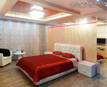 красивая спальная в красном цвете