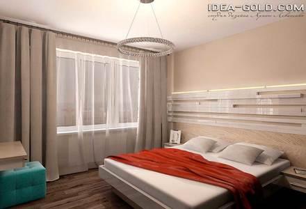 спальная в бежевой красной гамме
