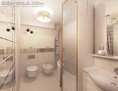 ванная в классике, золотистая ванная, шикарный интерьер ванной, люстра в ванной