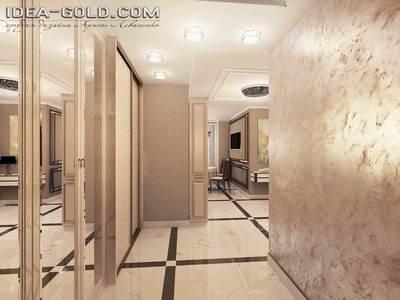 дизайн классического интерьера коридора, шелк декоративная штукатурка, зеркальные шкафы, шик в интерьере