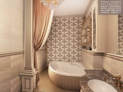 дизайн роскошной ванной, золотистый декор ванной