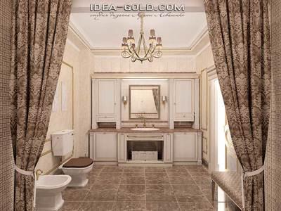 стильная классика, интерьер ванной в классическом стиле, бежево-шоколадная гамма интерьера