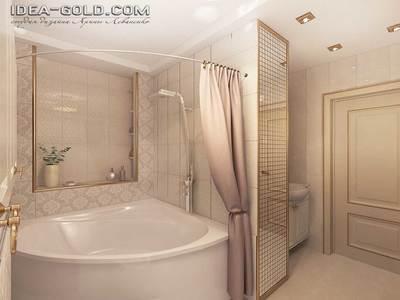 дизайн классической ванной в саратове, золотистая ванная, шикарная плитка в интерьере
