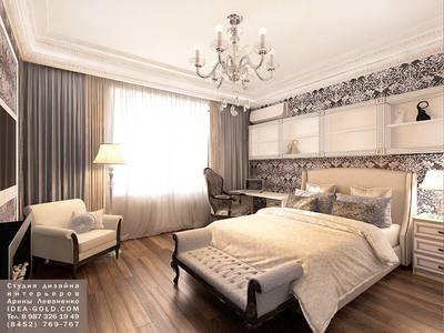 классический интерьер в темной гамме, красивый интерьер спальной, английский стиль интерьера