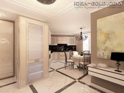 шикарный дизайн холла, коридор классический, мебель мрамор, зеркальный интерьер, шикарный дизайн саратов