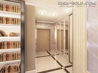 дизайн классического коридора, светлый и просторный коридор, печать на шкаф-купе