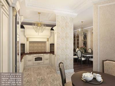 зеркальная плитка, классический дизайн роскошной кухни, классическая мебель слоновая кость, мраморный интерьер