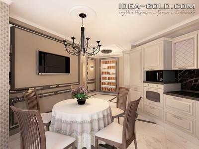 шикарный дизайн кухни, кухня классическая, мебель слоновая кость, зеркальный интерьер, шикарный дизайн саратов классика