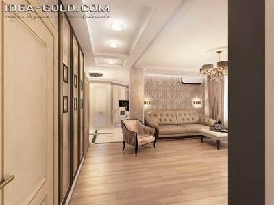 золотистый интерьер, дизайн шикарной гостиной, багет на стенах, пастельная гамма в интерьере