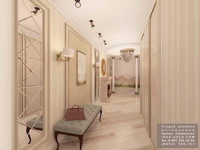 колонны в интерьере, классический дизайн коридора, холла, зеркала с фацетом