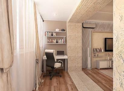 бежевая гостиная, дизайн рабочее место на лоджии
