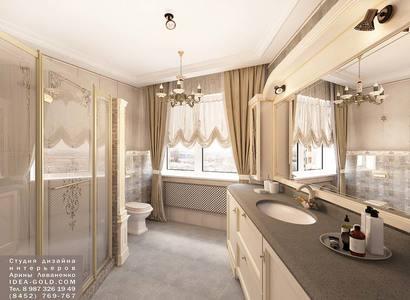 дизайн классической ванной, шикарный дизайн душевой, бронза в ванной, золото в интерьере