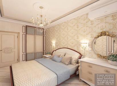 голубой в интерьере спальной, дизайн спальной классика, шикарный интерьер, резное зеркало, классические двери купе