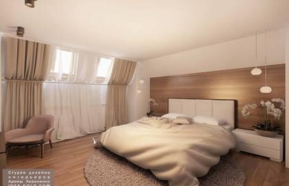 дизайн современной спальной, ламинат на стене