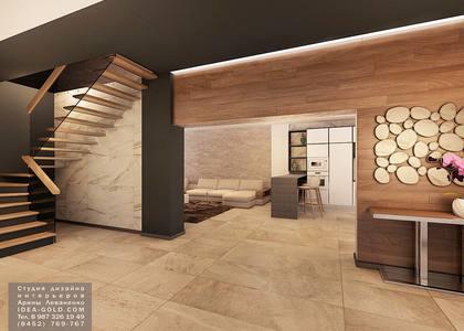 мрамор в холле, контрастный дизайн