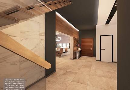 шикарный дизайн коридора, холла, черно-белый интерьер, контрасты в интерьере, дерево в холле