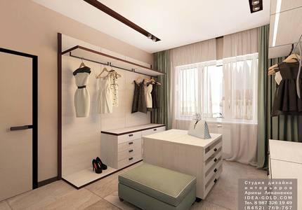 дизайн шикарной гардеробной, интерьер гардеробной современный стиль