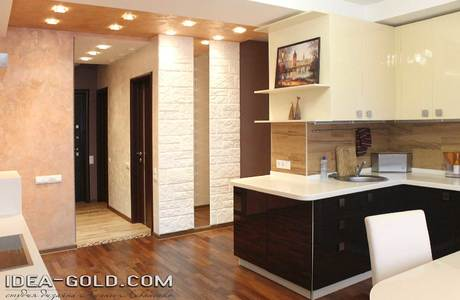 дизайн кухни бежево-коричневые цвета