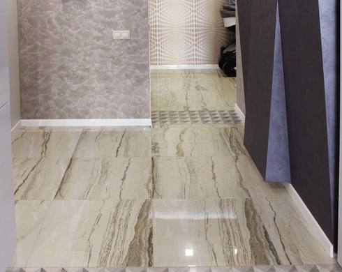 дизайн современного интерьера коридора, 3d обои, керамогранит в интерьере, штукатурка в интерьере